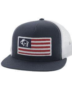 HOOey Men's American Made Buffalo Flag Mesh Ball Cap , Blue, hi-res
