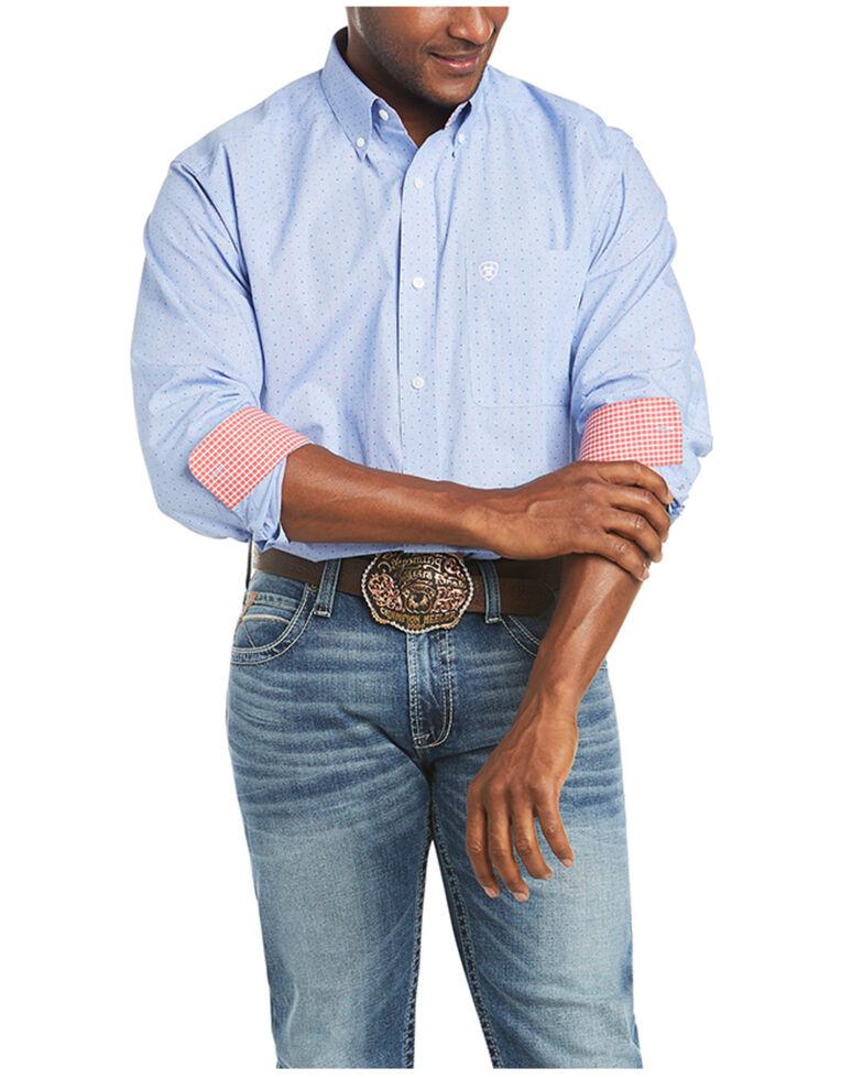 Ariat Men's Wrinkle Free Gavrel Dobby Dot Print Long Sleeve Button-Down Western Shirt - Big & Tall, White, hi-res