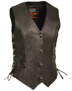 Milwaukee Leather Women's Snap Front Vest With Thin Braid - 3X, Black, hi-res