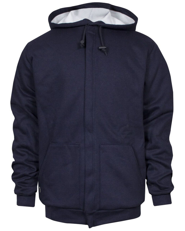 National Safety Apparel Men's Navy FR Heavyweight Lined Zip Front Hooded Work Sweatshirt - Tall , Navy, hi-res