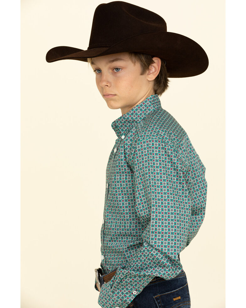 Cinch Boys' Green Geo Print Button Long Sleeve Western Shirt , , hi-res