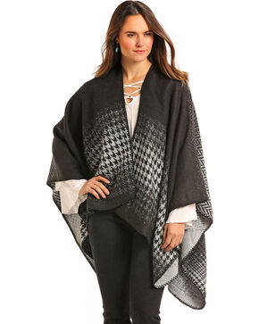 Panhandle Women's Charcoal Patterned Cape , Charcoal, hi-res