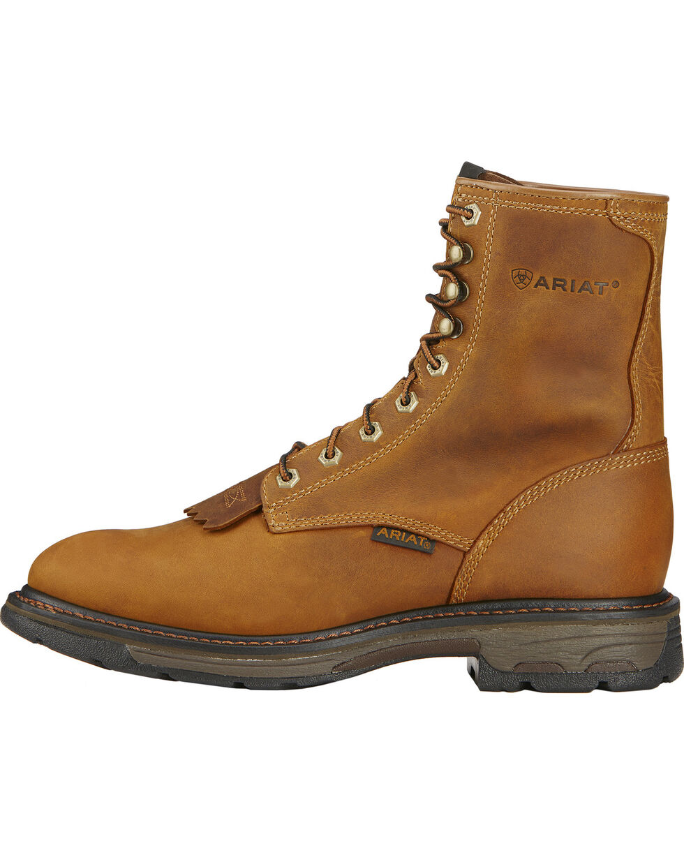 "Ariat Men's Workhog 8"" Lace Up Work Boots, Aged Bark, hi-res"