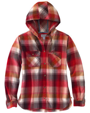 Carhartt Women's Beartooth Hooded Flannel Work Shirt, Dark Red, hi-res