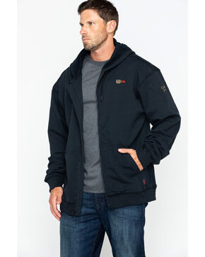 Cinch WRX Men's FR Black Full Zip Work Hoodie, Black, hi-res