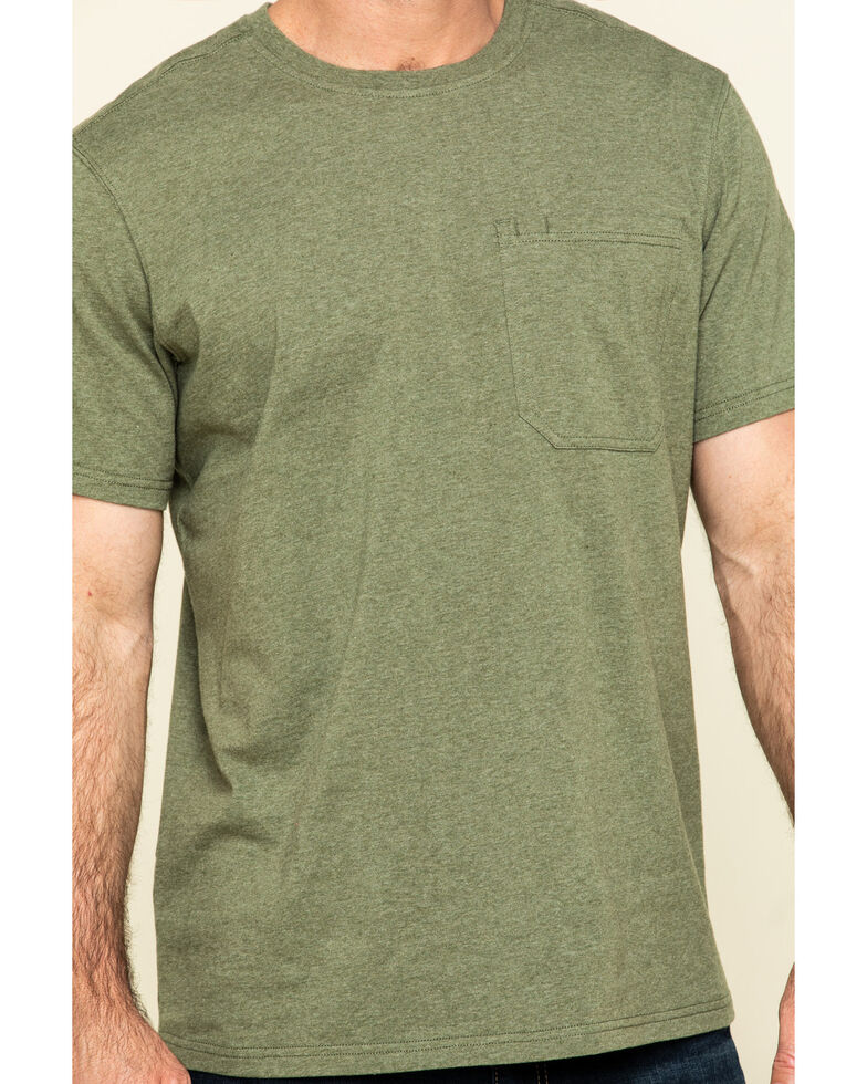 Hawx Men's Olive Solid Pocket Short Sleeve Work T-Shirt - Tall , Olive, hi-res