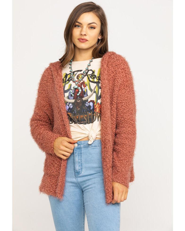 Tempted Women's Mauve Cozy Hood Cardigan, Mauve, hi-res