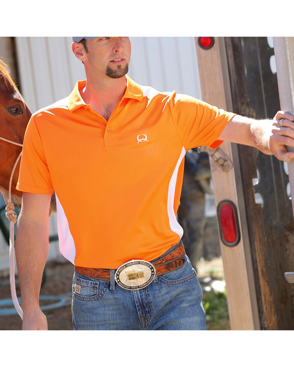 Cinch Men's Short Sleeve Polo, Orange, hi-res