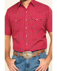 Ely Cattleman Men's Burgundy Mini Check Plaid Short Sleeve Western Shirt - Tall, Burgundy, hi-res