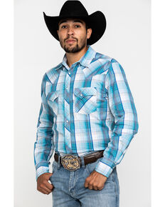 Wrangler Men's Light Blue Plaid Fashion Snap Long Sleeve Western Shirt , Light Blue, hi-res