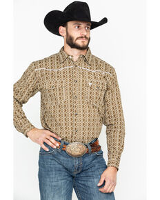 Cowboy Hardware Men's Double Diamond Print Long Sleeve Western Shirt , Tan, hi-res