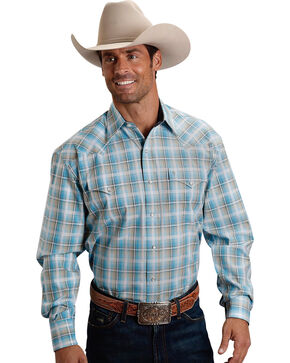 Stetson Men's Blue Sage Plaid Long Sleeve Snap Shirt, Blue, hi-res