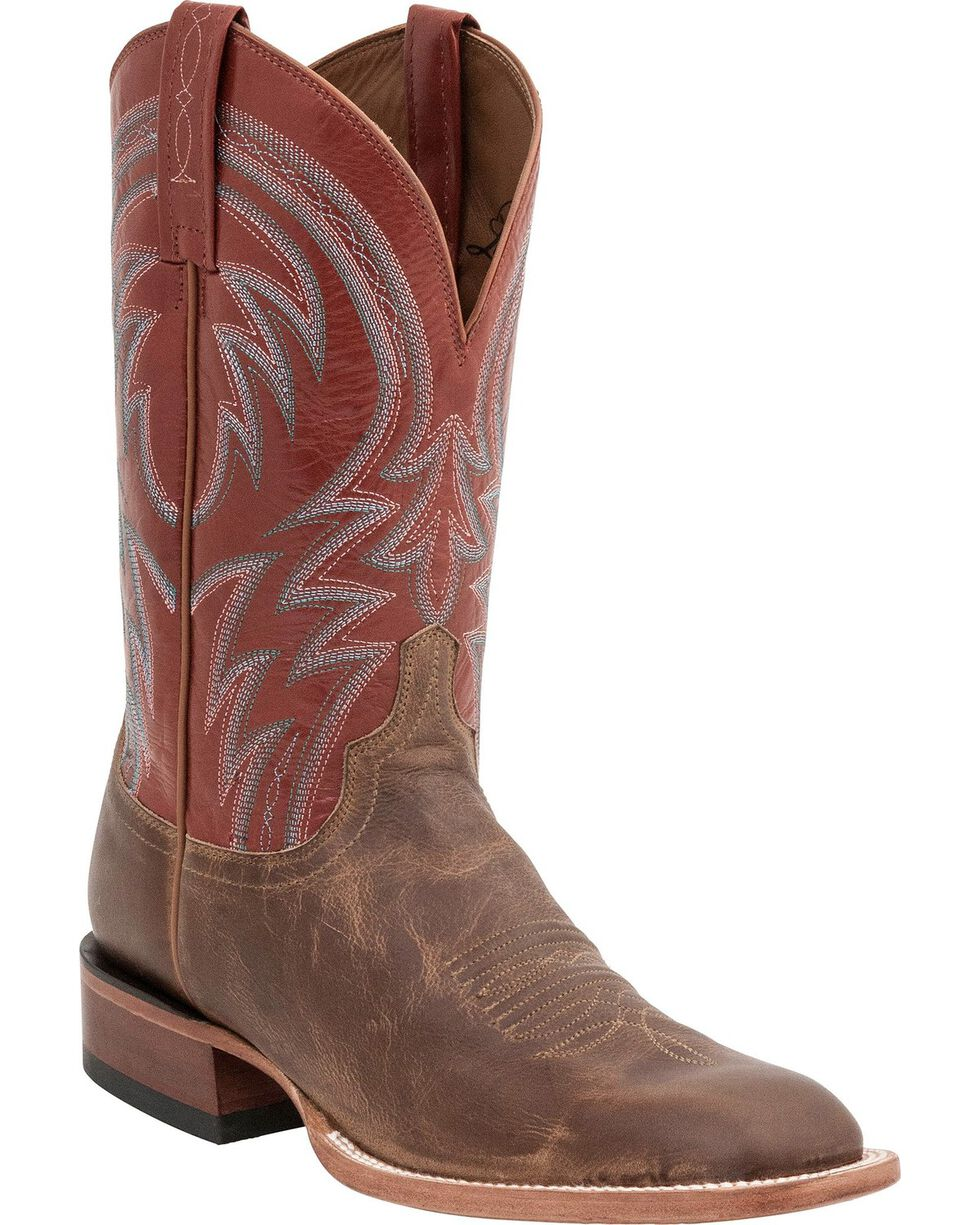 Lucchese Men's Alan Broad Square Toe Western Boots, Tan, hi-res