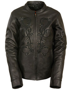 Milwaukee Leather Women's Reflective Star Leather Jacket - 3X, Black, hi-res