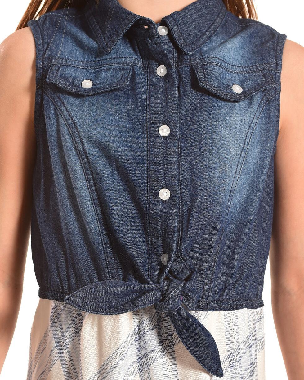 Silver Girls' Blue Sleeveless Denim Plaid Dress, Blue, hi-res