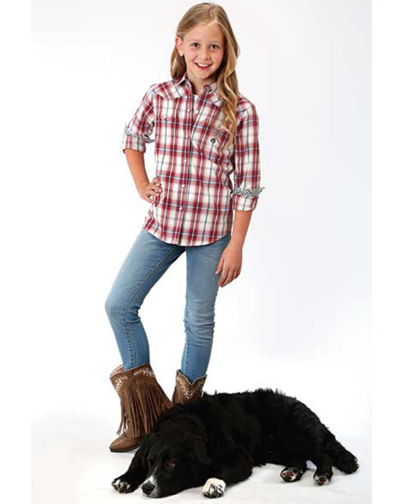 Amarillo Girls' Red Plaid Snap Long Sleeve Western Shirt , Red, hi-res