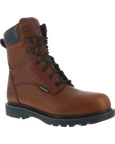"""Iron Age Men's Hauler Waterproof 8"""" Work Boots - Composite Toe, Brown, hi-res"""