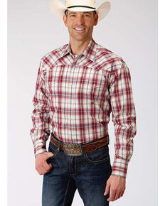 Amarillo Men's Vintage Red Plaid Long Sleeve Western Shirt , Red, hi-res