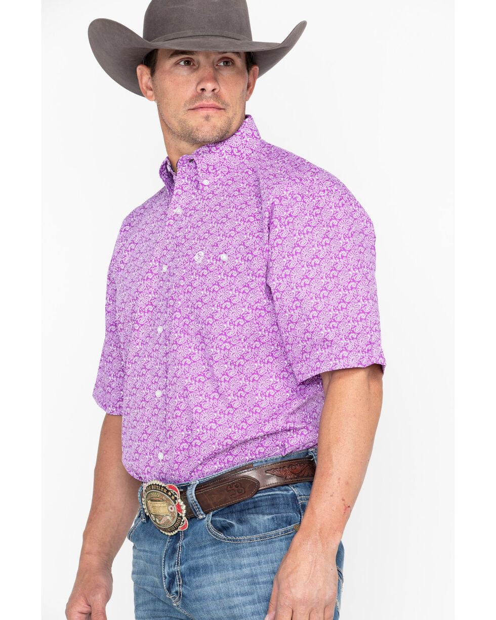 George Strait by Wrangler Men's Purple Paisley Short Sleeve Western Shirt, Purple, hi-res
