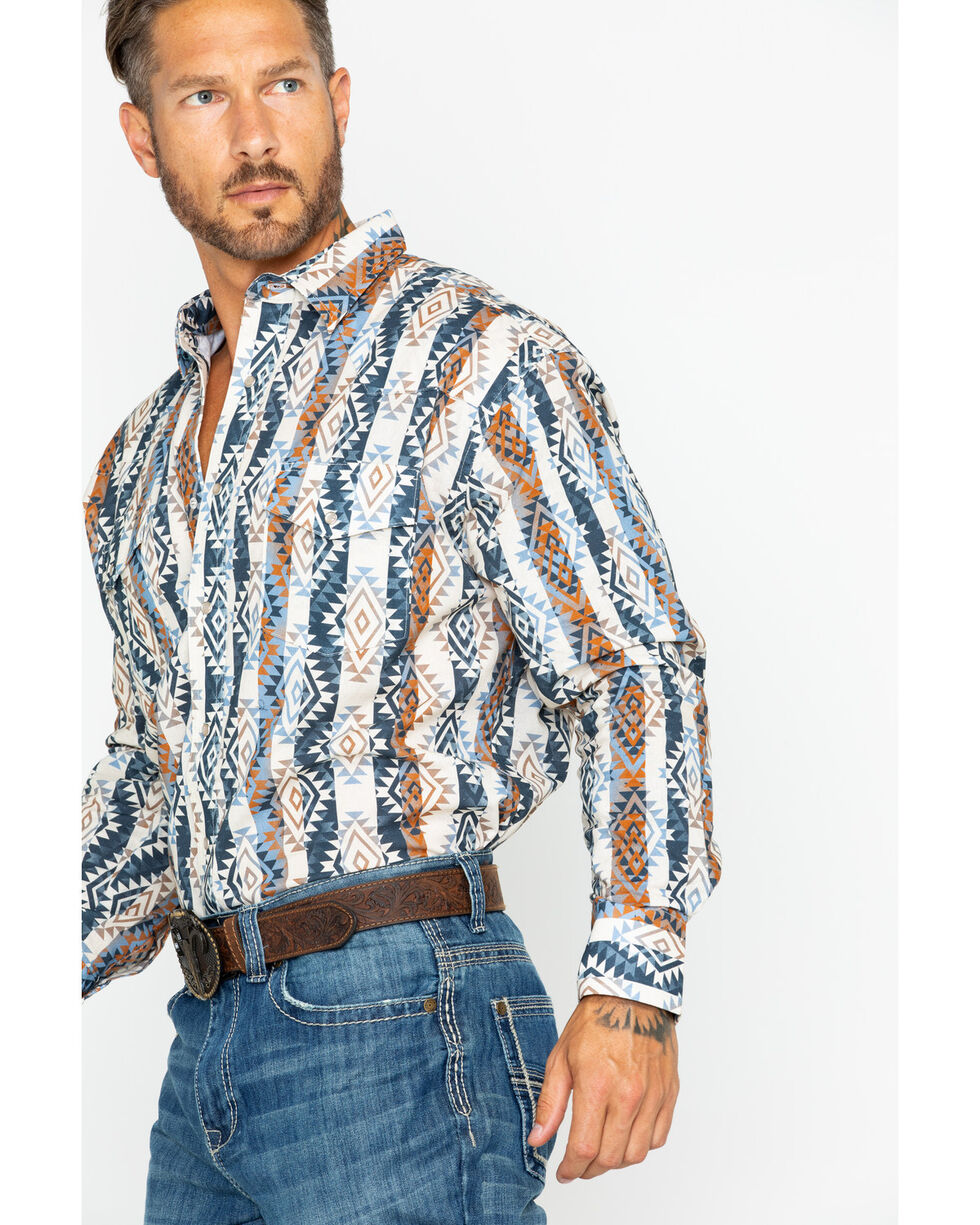 Wrangler Men's Checotah Aztec Stripe Shirt , Beige/khaki, hi-res