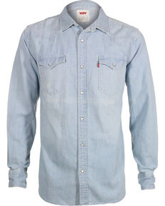 Levi's Men's New Age Bleach Denim Long Sleeve Western Shirt, Indigo, hi-res
