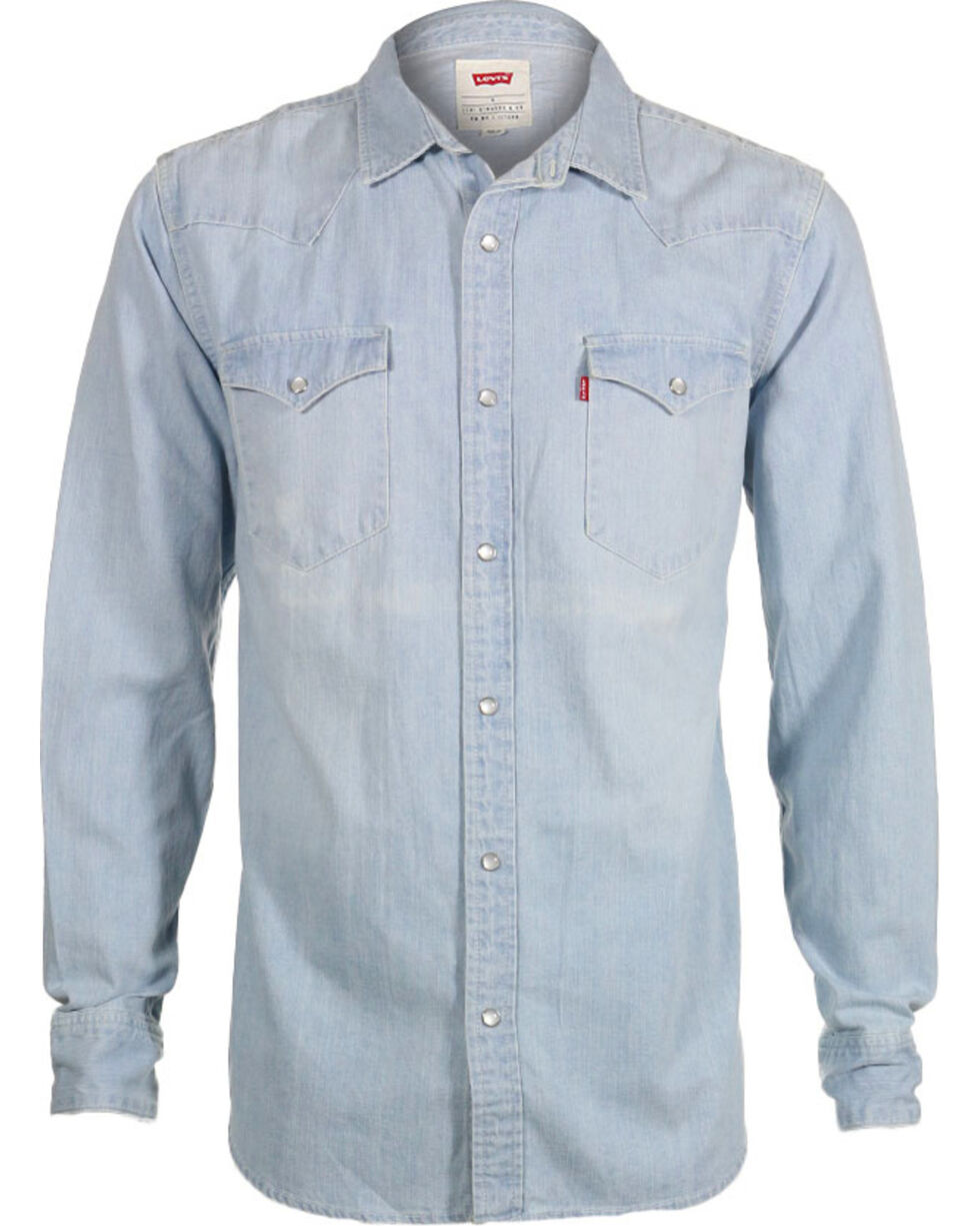 Levi's Men's New Age Bleach Denim Long Sleeve Western Shirt, Indigo, hi-res