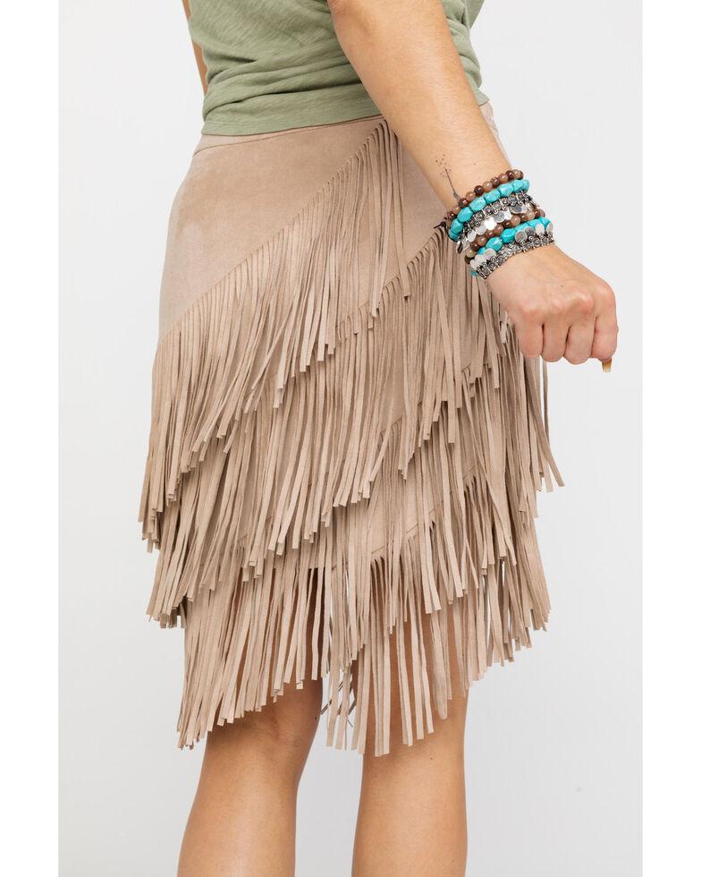 Idyllwind Women's Spellbound Fringe Skirt, Stone, hi-res