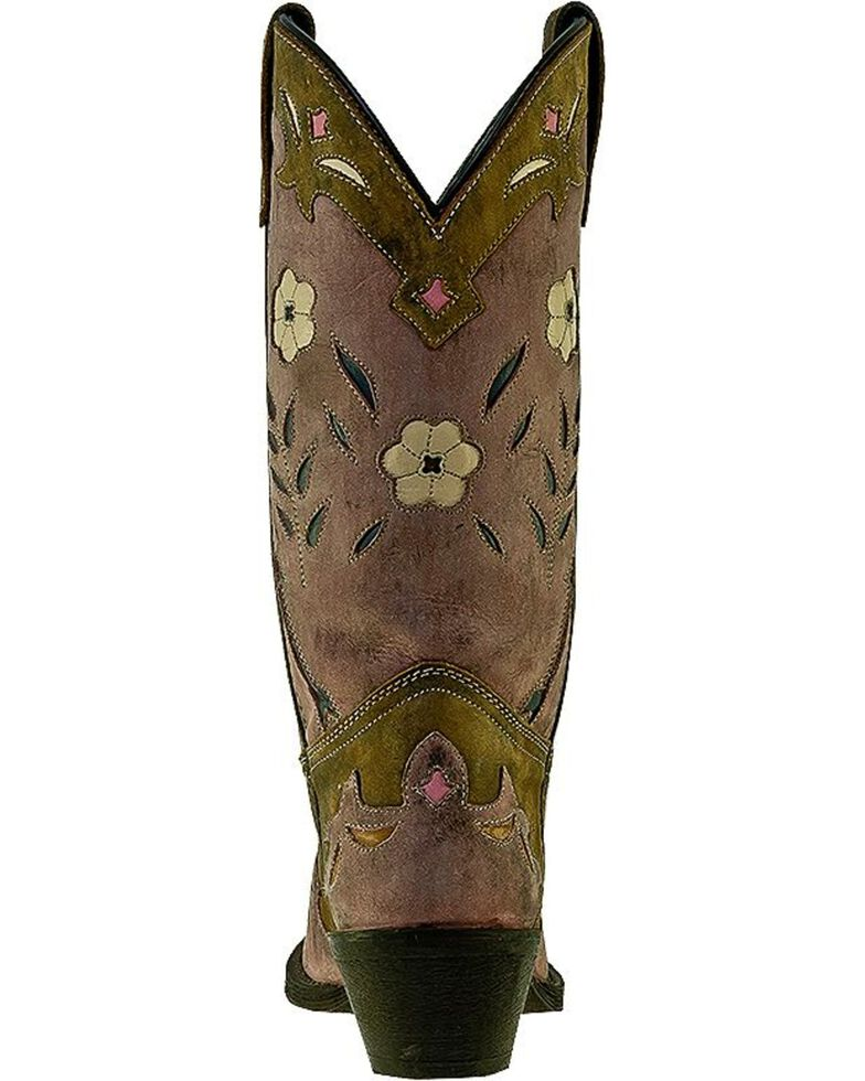 Laredo Women's Floral Western Boots, Distressed, hi-res