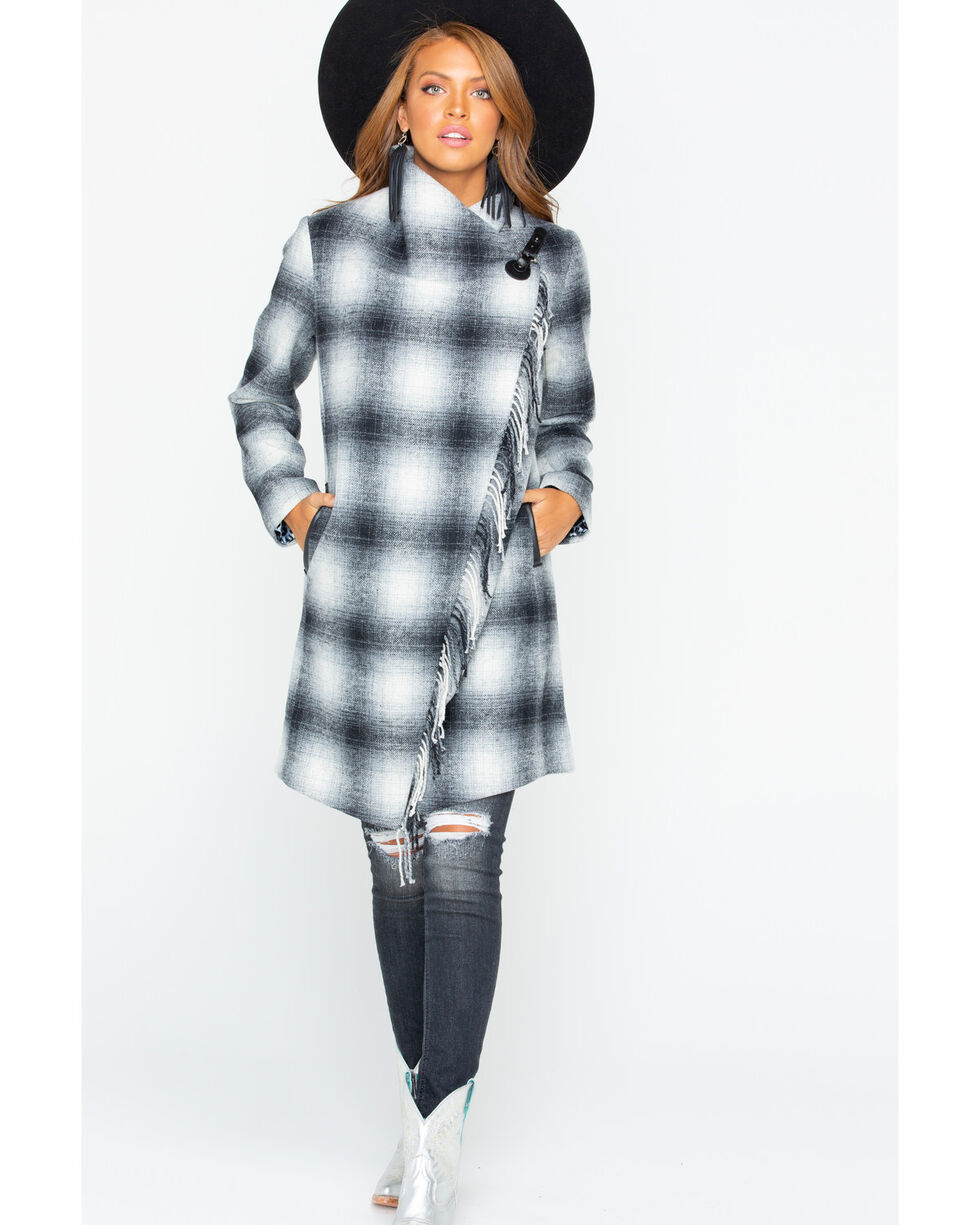 Tasha Polizzi Women's Oxford Buffalo Check Plaid Coat , White, hi-res