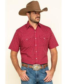 Ely Cattleman Men's Burgundy Check Plaid Short Sleeve Western Shirt , Burgundy, hi-res