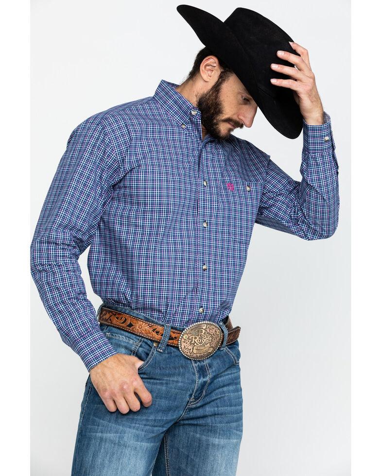 George Strait by Wrangler Men's Small Poplin Plaid Long Sleeve Western Shirt , Navy, hi-res