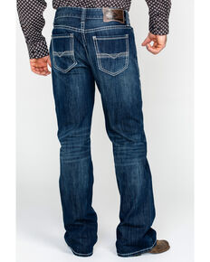 Rock & Roll Cowboy Men's Double V Bean Stitch Relaxed Bootcut Jeans , Dark Blue, hi-res