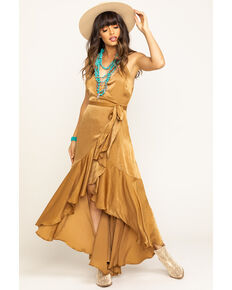 Flying Tomato Women's Bronze Stain Wrap Dress, Bronze, hi-res
