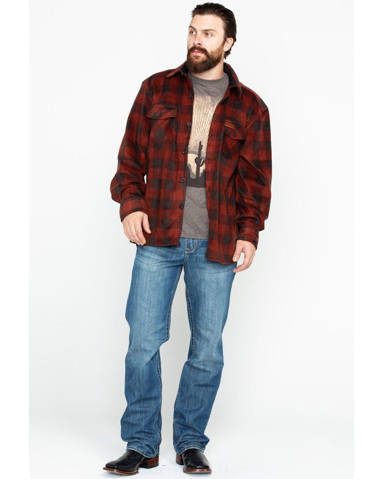 Outback Trading Co. Men's Plaid Fleece Big Shirt Jacket, Red, hi-res