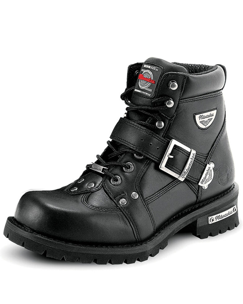 Milwaukee Motorcycle Clothing Co. Men's Road Captian Moto Boots - Round Toe, Black, hi-res