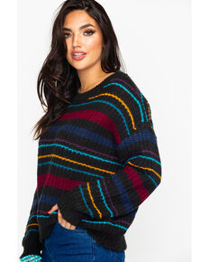 Eyeshadow Women's Multi Stripe Sweater, Black, hi-res