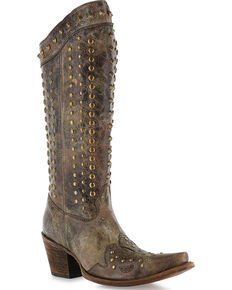 Corral Women's Stud Snip Toe Fashion Western Boots, Chocolate, hi-res