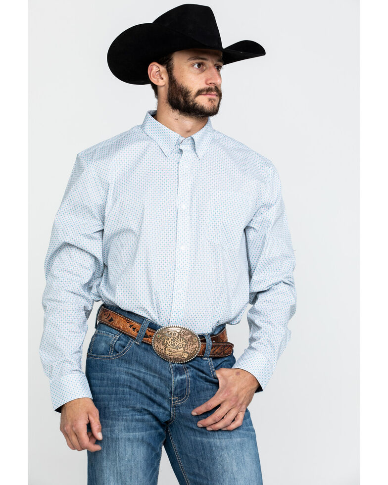 Cody James Core Men's Hawthorn Geo Print Long Sleeve Western Shirt , White, hi-res