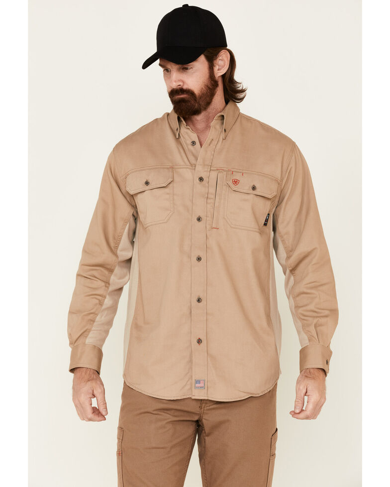 Ariat Men's FR Solid Vent Long Sleeve Work Shirt , Beige/khaki, hi-res