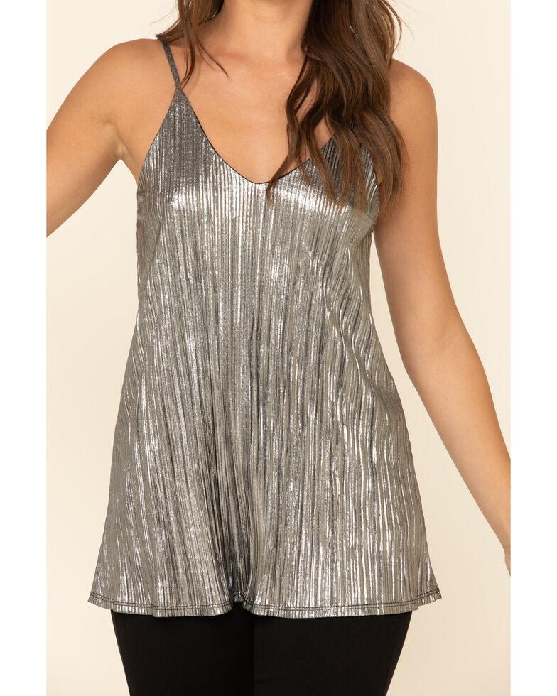 Panhandle Women's Grey Metallic Pleated Tank Top, Grey, hi-res