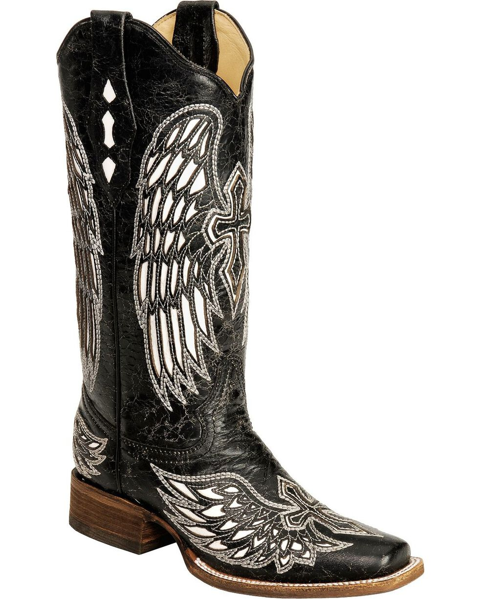 Corral Women's White Wing and Cross Western Boots, Black, hi-res