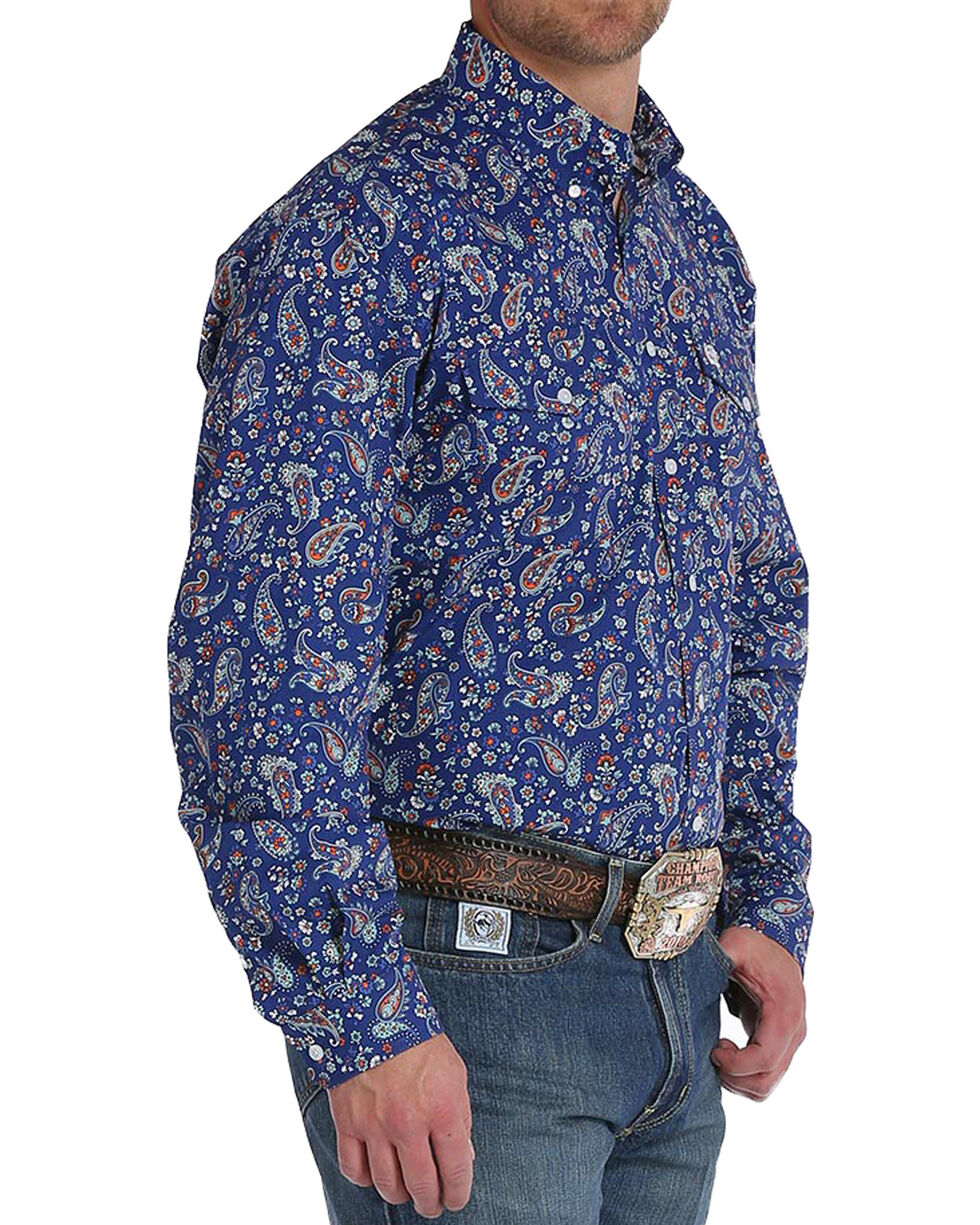 Cinch Men's Navy Paisley Print Double Pocket Button Down Shirt, Navy, hi-res