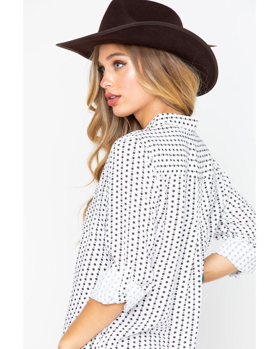 Velvet Heart Women's Star Print Hi Low Button Down Shirt , Black/white, hi-res