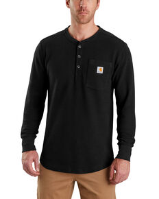 Carhartt Men's Tilden Long-Sleeve Henley Tee - Big, Black, hi-res