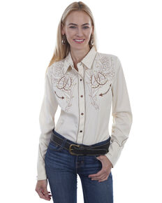 Western Scully Women's Cream Horseshoe Long Sleeve Western Shirt, Cream, hi-res