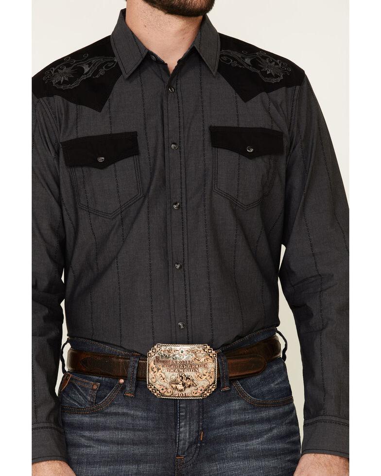 Moonshine Spirit Men's Rock Star Embroidered Long Sleeve Western Shirt, Charcoal, hi-res