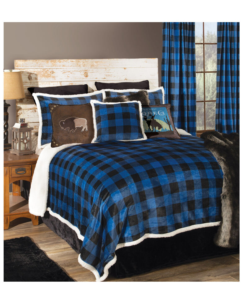 Carstens Home Wrangler Blue Lumberjack Buffalo Plaid Sherpa Fleece 3-Piece Blanket Set - Twin Set , Blue, hi-res