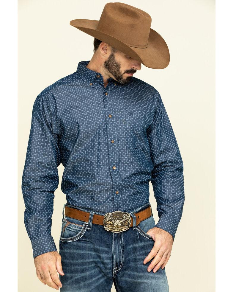 Ariat Men's Ingleton Diamond Geo Print Long Sleeve Western Shirt - Tall , Indigo, hi-res