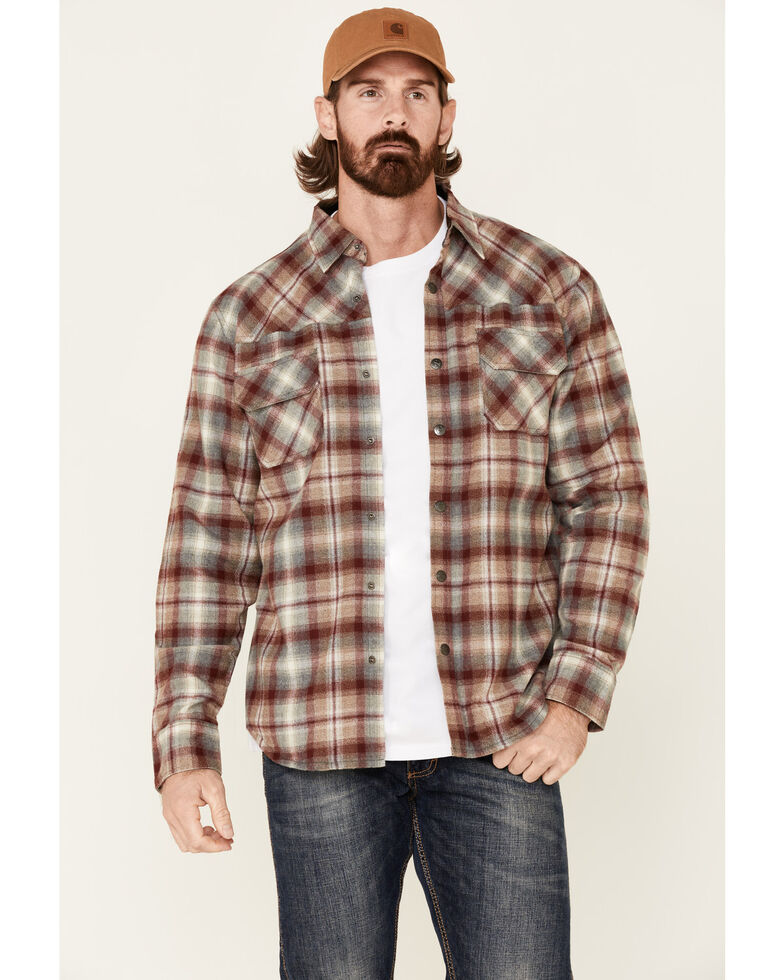 Dakota Grizzly Men's Gibson Plaid Long Sleeve Western Flannel Shirt Jacket , Red, hi-res