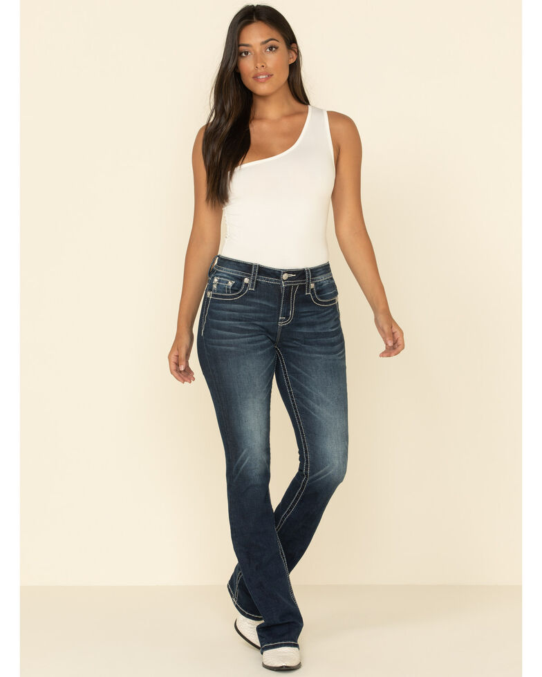 Miss Me Women's Dark Rinse Feather Jeans, Blue, hi-res
